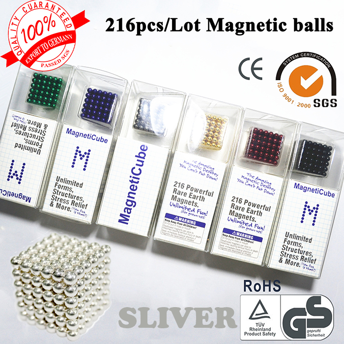 New magnetic balls Cube 216*5mm Diameter with Tin box cubes Funny Magnet Balls Neodymiums Novelty more colors options(China (Mainland))