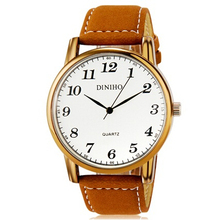 DINIHO Men's Watches Fashionable Analog Quartz Water Resistant Wrist Watch with Faux Leather Band