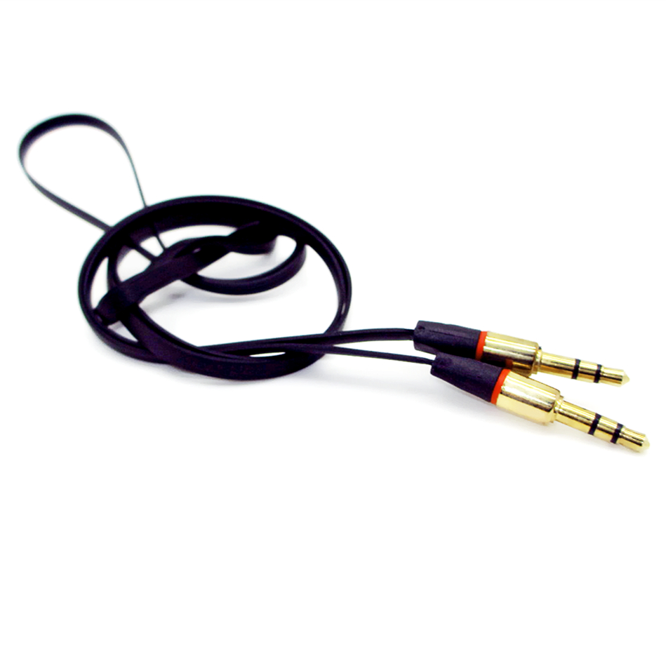 NEW 3.5mm Aux Cable Gold Plated M-M Plug Car Audio flat Cable 1.2M For Headphone Replacement /PC Speaker wire(China (Mainland))