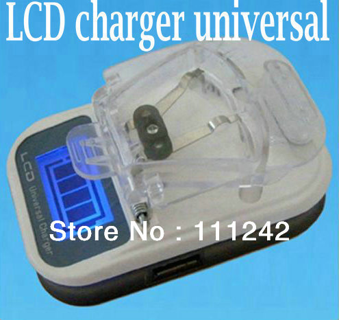 Free shiping lcd charger universal + AU or EU ac power plug adapter for mobile