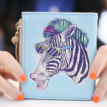 Vintage Marilyn Monroe Purses Cartoon Cat  Print  Women Wallets Brand  Female Thin Wallet Zebra Carteira Feminina Clutch