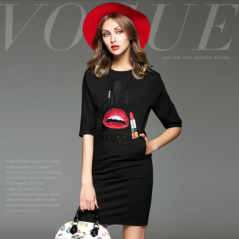 Brand New High-end Autumn Winter Women's Black Dress Fashion Half Sleeve Red Lip Stick Cloth Printing Slim Dresses for Women(China (Mainland))