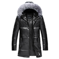 2016 winter men jacket new men s sheep leather down jacket in the long hooded leather