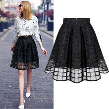New Women Long Skirt Transparent Tulle Skirts Womens High Waist Pleated Midi Skirts Organza Saia Feminino Tutu Skirt Black
