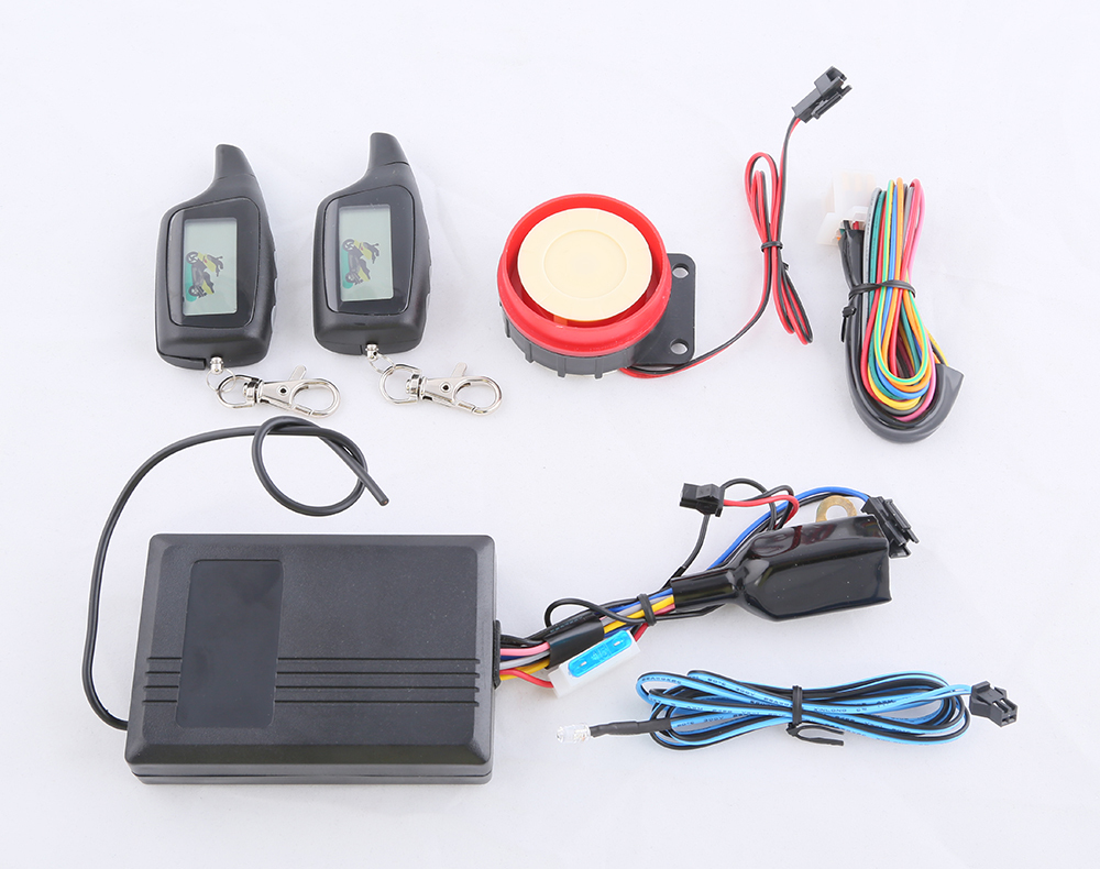 LCD instruction motorcycle two way alarm system shocking arm, remote arm disarm and remote engine start, cut off power memory(China (Mainland))