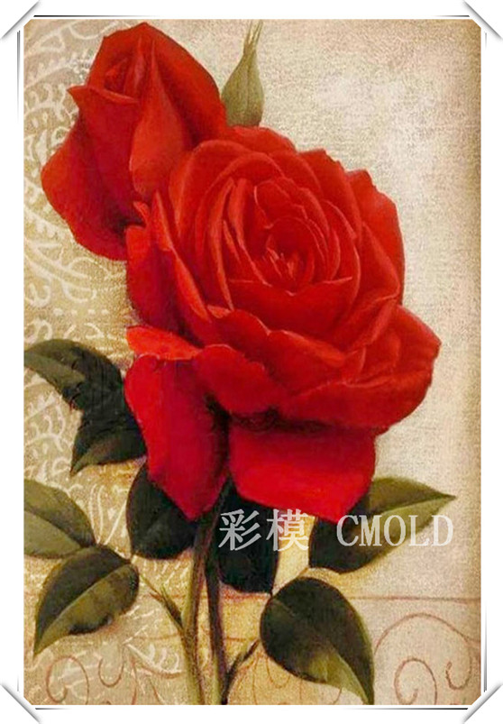 Freeshipping draw a diamond Rose cross stitch patterns needlework 30X20cm Various sizes Available R4295W(China (Mainland))