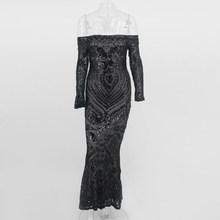 Santune negro lentejuelas de hombro Maxi Vestido de manga completa Slash Neck Elgant ceñido al cuerpo vestidos de fiesta vestido de cola de pez para mujer(China)