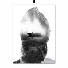 Streszczenie broda człowiek statek plakaty i druki obraz ścienny na płótnie plakat skandynawski zdjęcia ścienny do salonu dekoracji wnętrz(China)