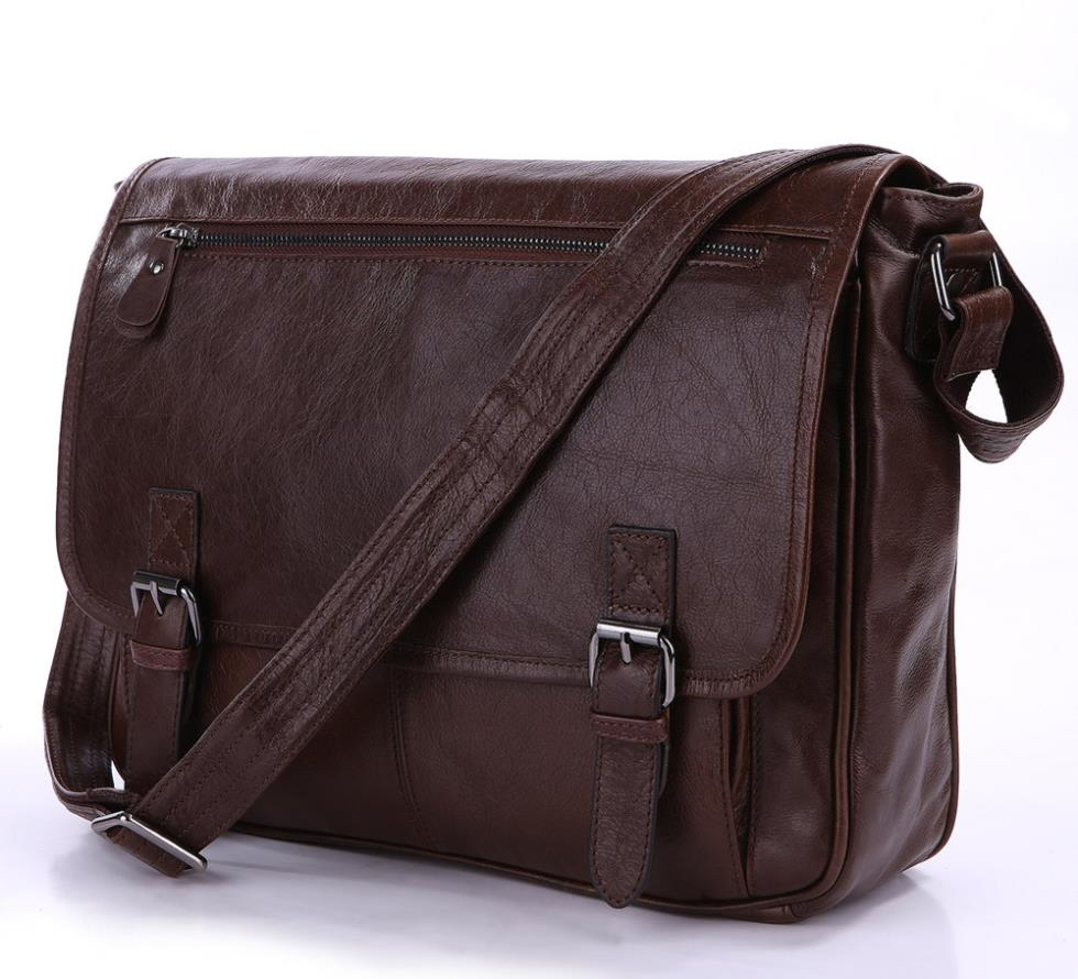 Real natural100% Cowhide Leather Briefcase shoulder Business leather bag for man messenger bags brown color 2014 NEW Tote bags(China (Mainland))