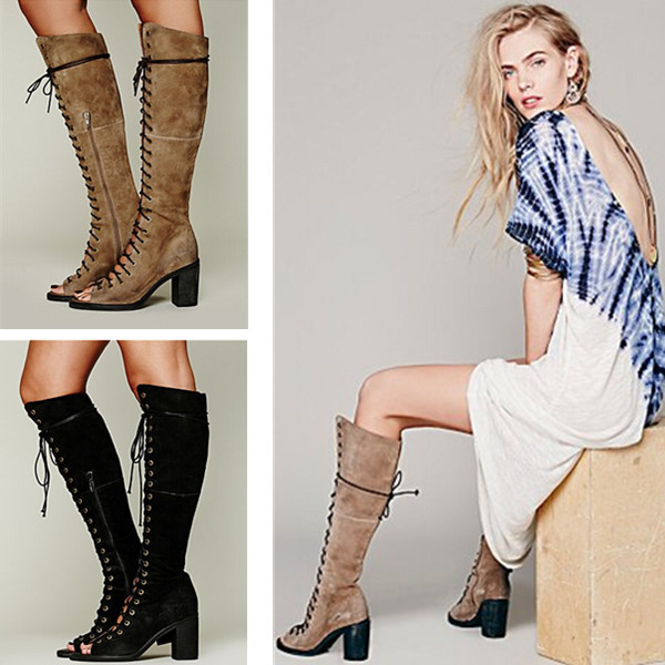 2015 Hot Sale Open Toe Knee High Gladiator Sandal Boots Sexy Lace Up Black Brown Suede Boots Summer Boots Shoes Woman(China (Mainland))