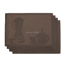 Table Placemats Valdler PVC Placemat for Daily Life Teapot Pattern Slip Heat-Resistant Brown Set of 4(China (Mainland))