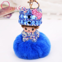 New Cute Dolls Cartoon Keychain Inlay Rhinestone Monchichi Bowknot Fur pom pom Ball Rabbit Woman Bag Charm Pendant Ring Holder