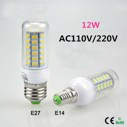 Newest Dimmable 12W LED Lamps E27 E14 36 LEDs AC 110V 220V 5730 SMD Corn Bulb Ceiling Light,White/Warm White Free shipping(China (Mainland))