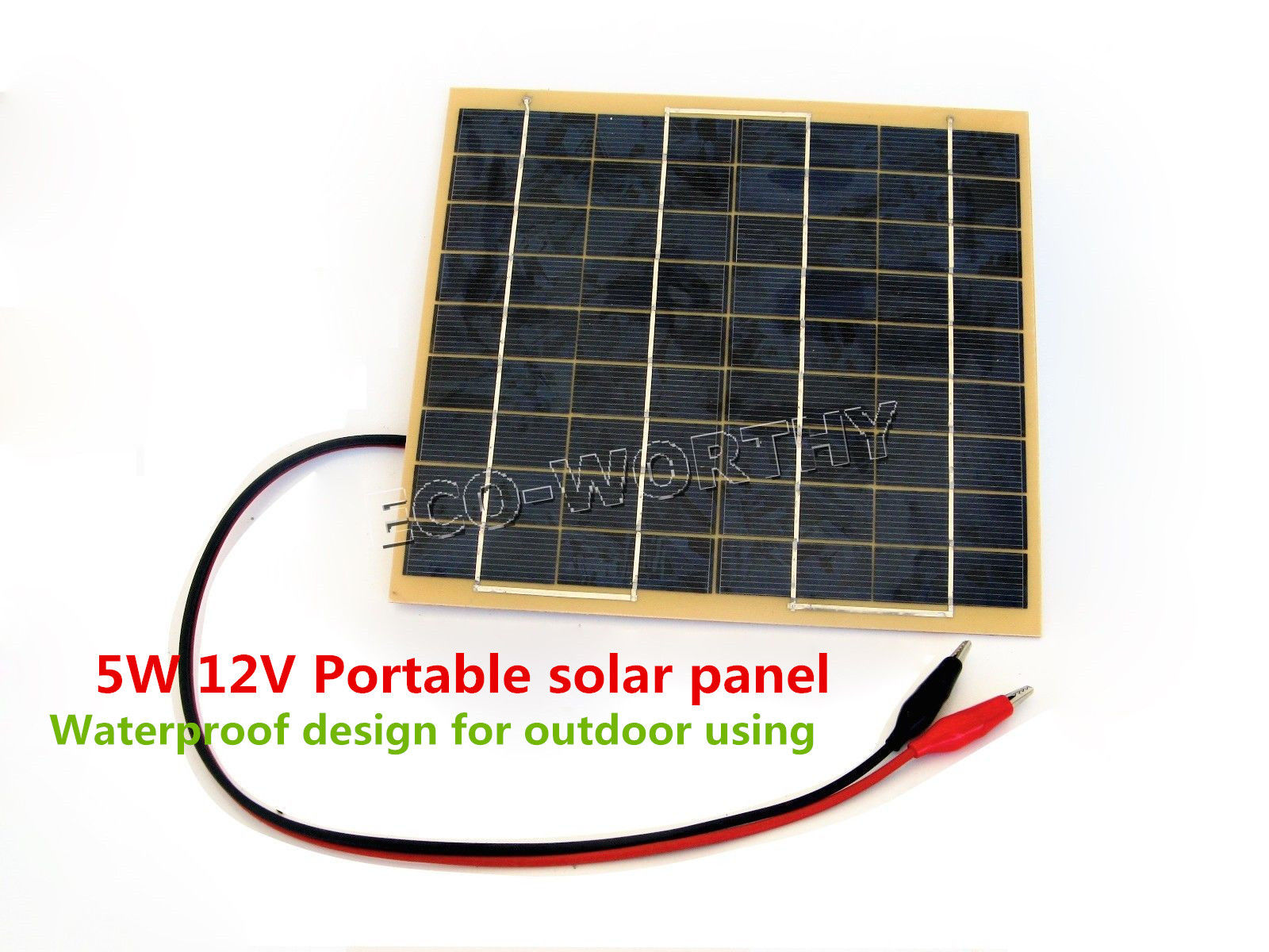 USA Stock 5W Solar Panel w/ Battery Clips for 12V Car Home Camping Boat Battery Charger(China (Mainland))