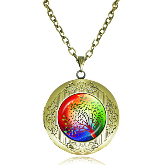 tree locket necklace Wind and Sun Willow pendant tree of life locket jewelry rainbow necklace cabochon picture green leaf gifts(China (Mainland))