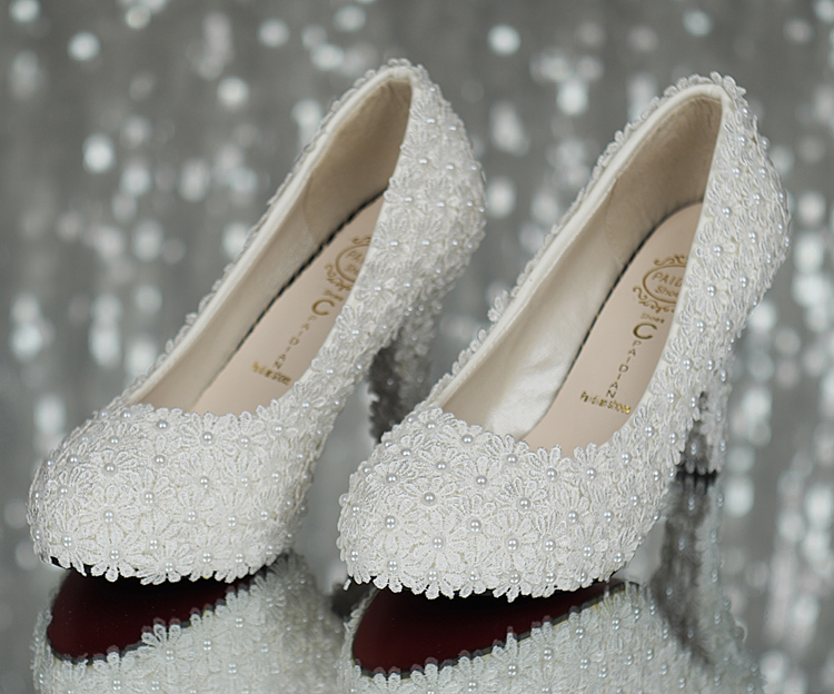 9cm/11cm Women Fashion Sweet White Flower Lace Platform High Heels Pearls Wedding Shoes Bride Shoes