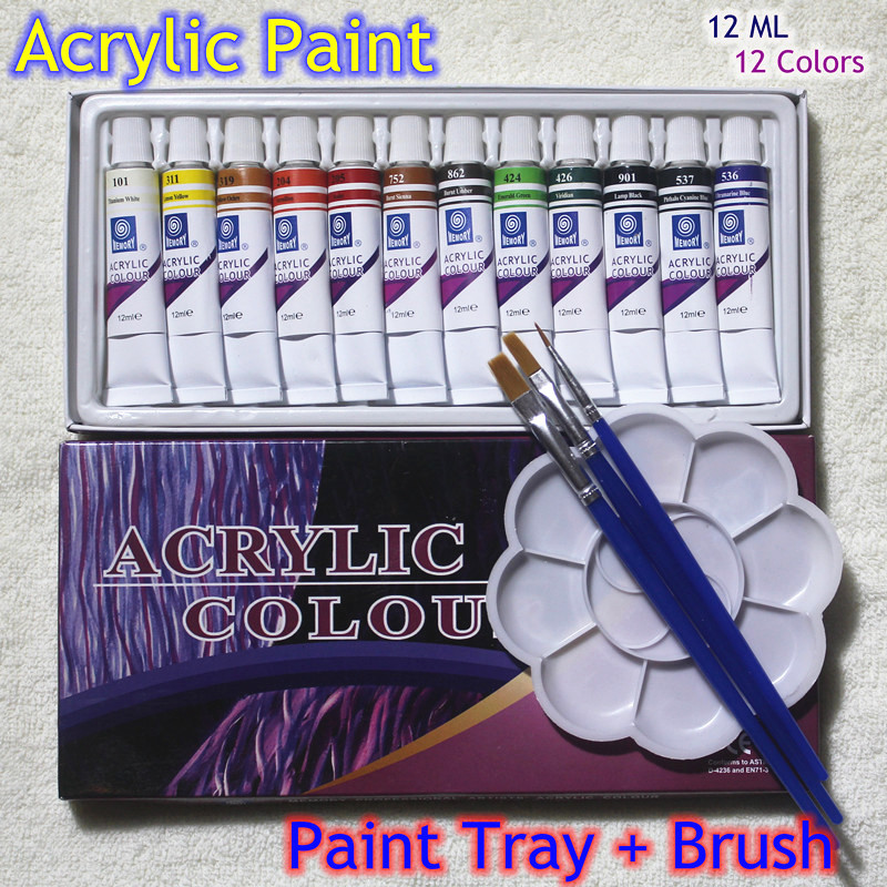 High Quality Acrylic Paints Tube Set Nail Art Painting Drawing Tool For The Artists 12ML 12 Colors Free For Brush And Paint Tray(China (Mainland))