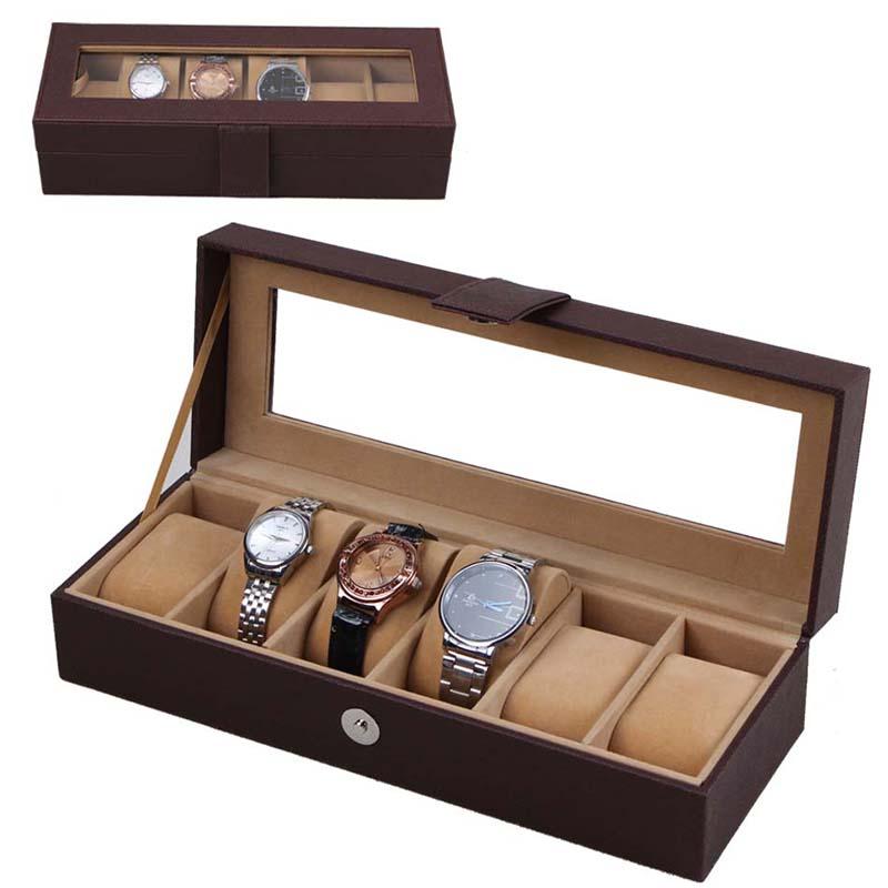 Black 6 Grid Watch Storage Box Glass Window Jewelry Wrist Watches Display Collection Storage Box Case Leather Skmei Caja Reloj Hz10