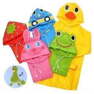 Rainbow wholesale child raincoat child poncho cartoon animal style kids baby raincoat(China (Mainland))