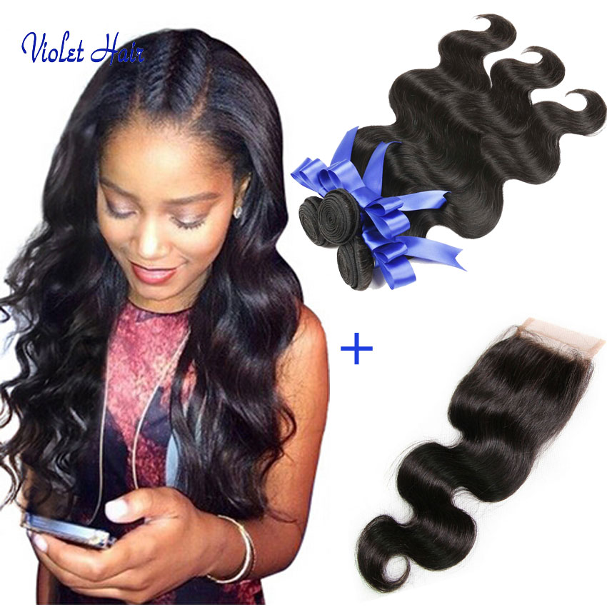 7A Peruvian Virgin Hair Body Wave With Closure 3/4 Bundles Human Hair Weft With Closure Queen Hair Products With Closure Bundle