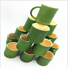 Buy Green Bamboo Cup Creative Pastoral Ecological Natural Handmade Bamboo Cup Handle Wine Cup Tea Cup for $12.21 in AliExpress store