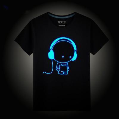 Free Shipping 2017 Fashion boys t shirt 100% cotton summer children kids Hip Hop Neon Print Party Club Night light punk top tee(China (Mainland))