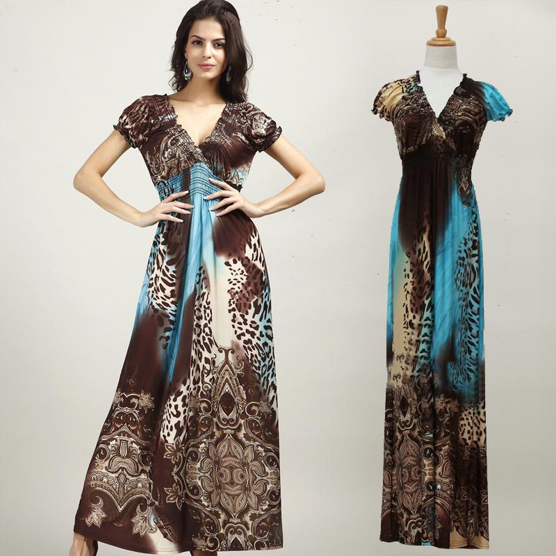 Boho Maxi Dresses Plus Size Plus Size Novelty Leopard Boho