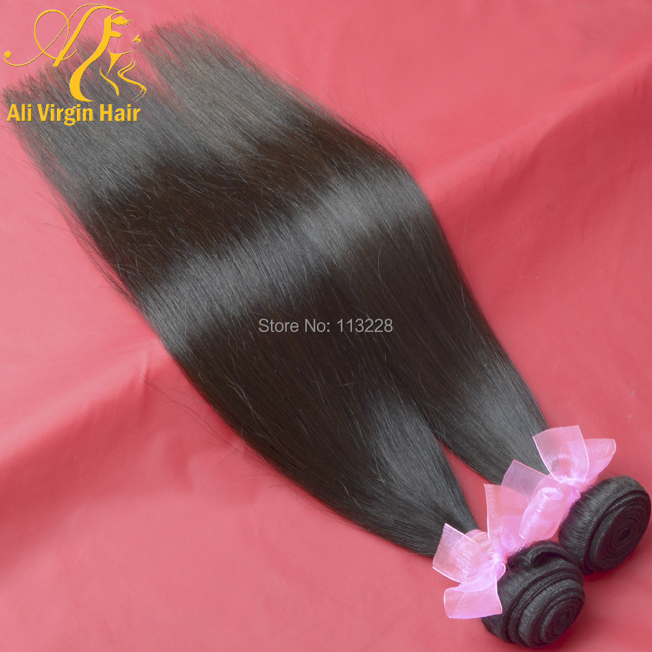 Guangzhou Free Shipping Ali Virgin Brazilian Hair Weft Straight Weave Hair Products by professional design 10''-30'' 2pcs/lot(China (Mainland))
