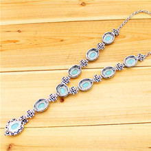 Fashion Jewelry Tibetan Style Antique Silver Plated Rhinestone Real Turquoise Flower Pendant Necklace TN211