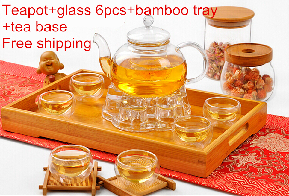 Heat resistantGlass Tea 9 pcs set gift suit with 6pcs glass bamboo tray Tea base sercet