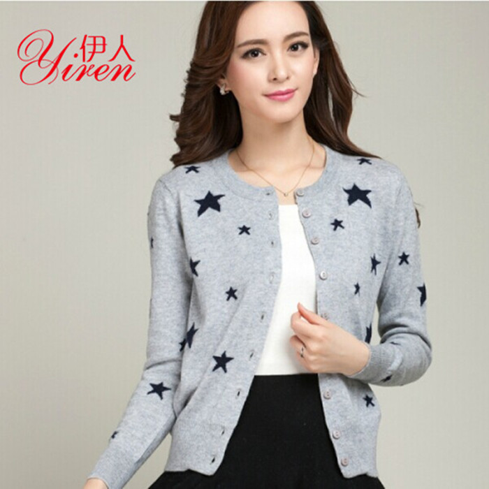 2015 Star paragraph cardigan female spring and autumn loose sweater outerwear cashmere sweater small cardigan(China (Mainland))