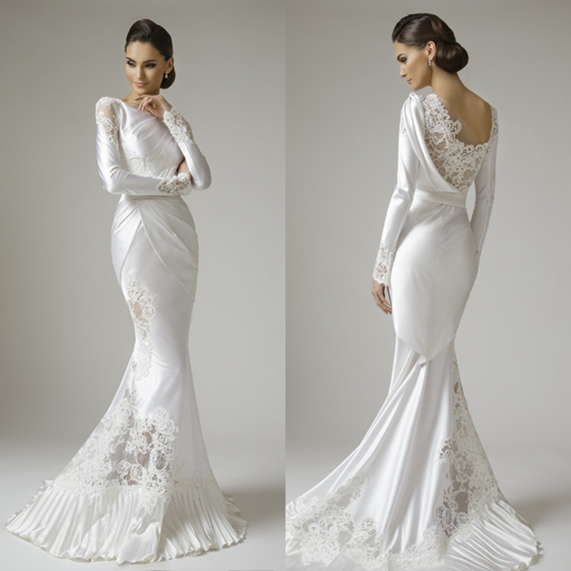 mermaid long sleeves appliques white satin lace wedding