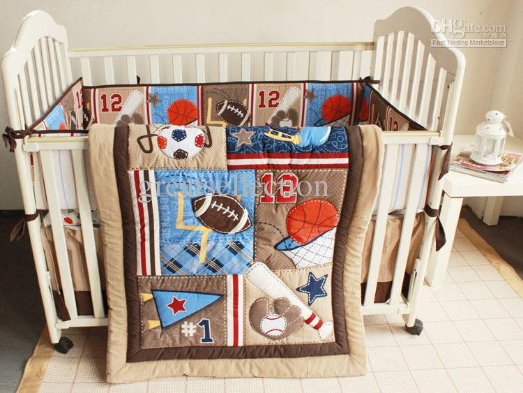 7pcs Embroidered Baseball Sports Pattern Boby Baby Cot Crib Bedding