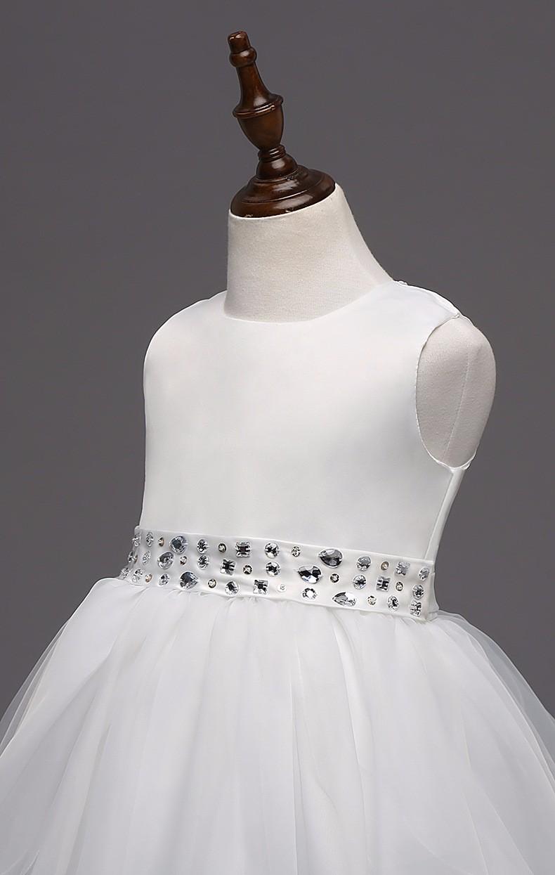 Скидки на Мода нового прибытия ярко-розовый белый красный темно-синий кристалл glilz платья в течение платье для девочки 12 лет