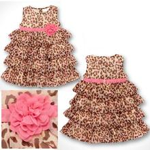 2016 Vestidos Fashion Summer Baby Girl's Leopard Print Dress Cute Children's Dresses Children's Clothing(China (Mainland))