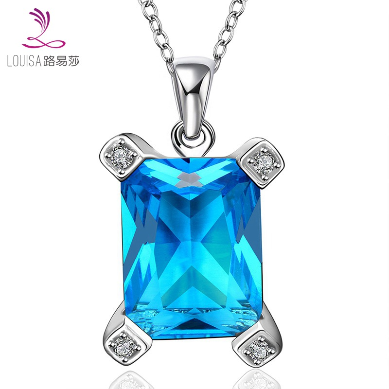High Quality zircon necklace Fashion Jewelry Platinum Plated High imitation aquamarine fine jewelry plating necklace LF-10118(China (Mainland))