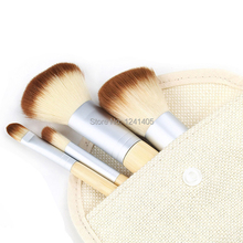 Hot Sale 1set 4Pcs Brushes Earth Friendly Bamboo Elaborate Professional Cosmetic Makeup Brush Sets 1404
