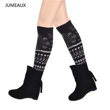JUMEAUX Fashion Christmas Snowflakes Geometric Women Winter Knit Crochet Leg Warmers Knee High Trim Boot Legging Wamer(China (Mainland))