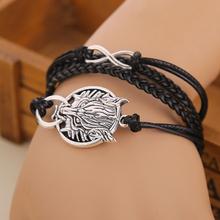 Teen Wolf bracelets & bangles bracelet Silver plated Wolf wrap bracelet balck bracelets for women men jewelry pulseras cuero