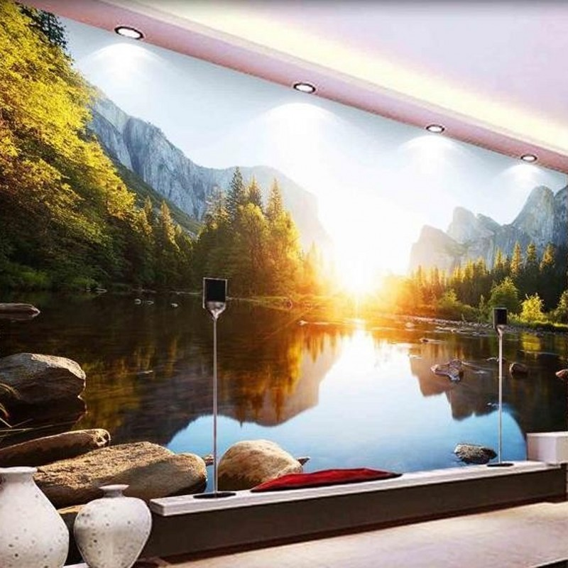 3D photo wallpaper custom 3d wall mural wall paper Lake landscape background wall paper living room papel de parede(China (Mainland))