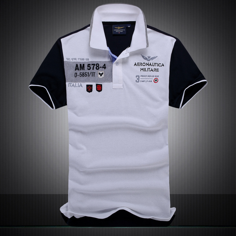 Men's Turn Down Collar Aeronautica Militare Polo Shirt 2016 Summer Style Top Quality Short Sleeve 100% Cotton T Shirt Men Tshirt(China (Mainland))