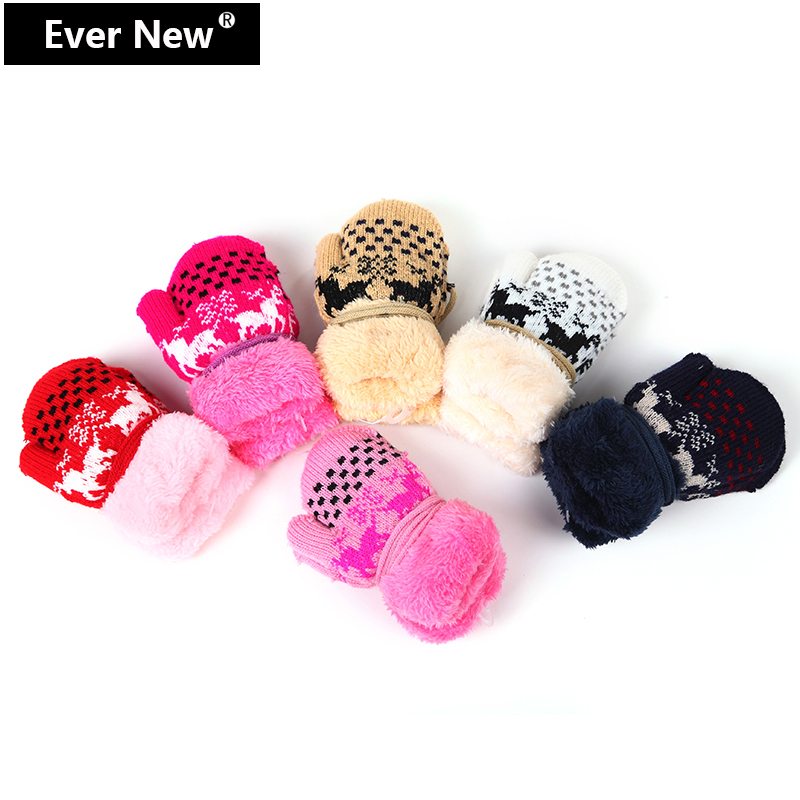 Top Quality Lovely Deer Kid Gloves Child Plush Warm Gloves Child Mittens Kid Winter Gloves For Kid Comfortable Free Shipping(China (Mainland))