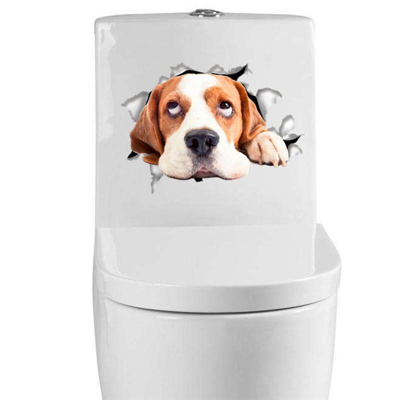 3d Vivid Cats Dogs Wall Sticker Toilet Door Refrigerator Computer Bathroom Decor Wall Decor Animal Wall