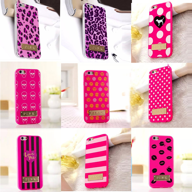 New Victoria/'s Secret PINK stripe/Love polka dot dog/skull/Leopard/flower/candy letter Metal brand+tpu case For iphone6 4.7inch(China (Mainland))