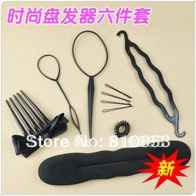 Free Shipping Former Foam Twist Hair Salon Tool,Magic Dish Hair Stick 6 in1 Retail Lc-01-276