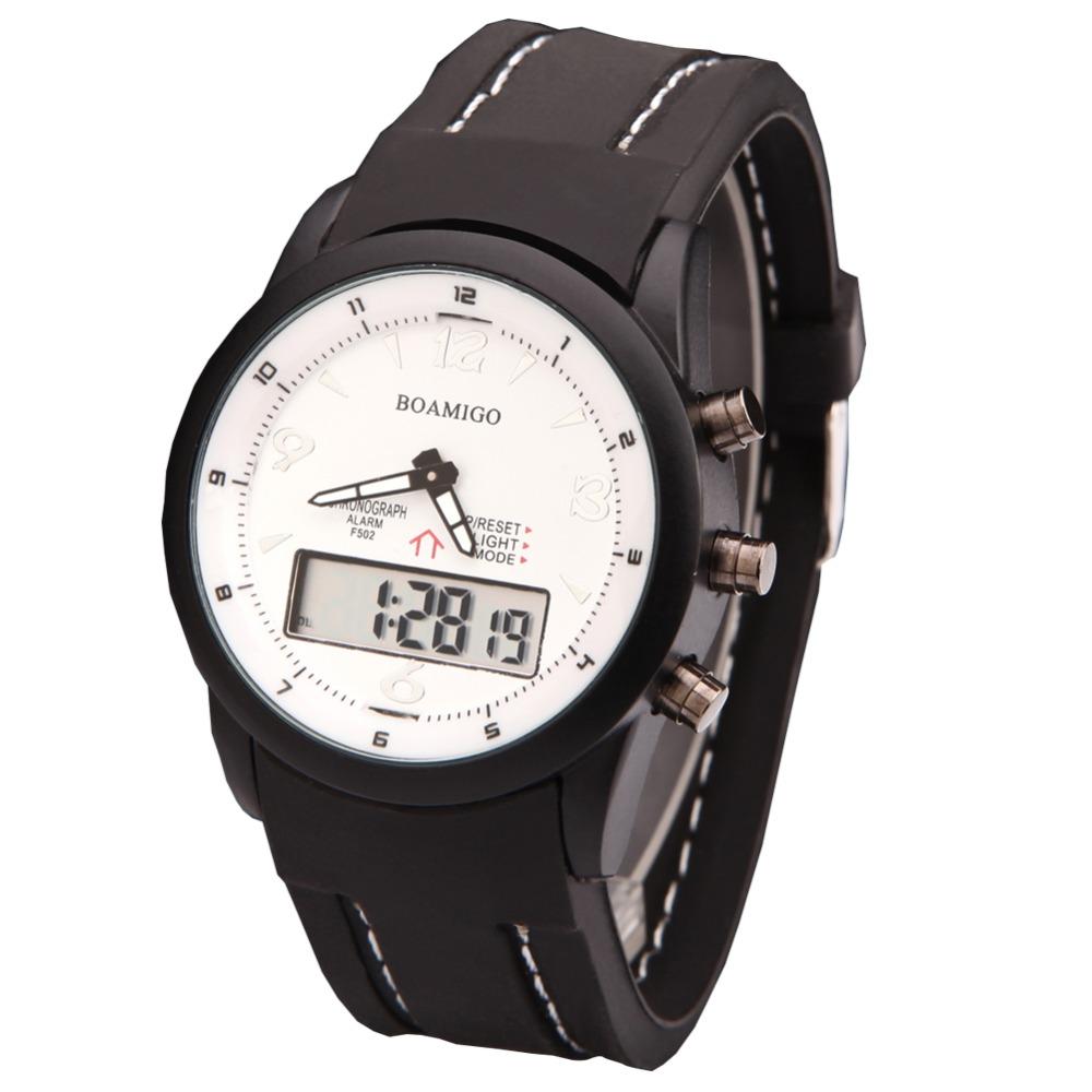 watches men luxury brand BOAMIGO military army sports watches Dual Time Quartz Digital analog Watch rubber band wristwatches(China (Mainland))