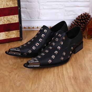 2015 новые туфли человек из натуральной кожи острым носом деловых туфли мужские мода ну вечеринку шипы металлический наконечник мужская обувь