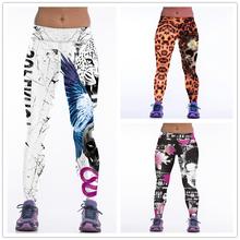 YDC99 2016 Women Leggings Fitness Sports Leggings Funny Leggins White Leopard Skull Print Running Pants Ropa Deportiva Mujer Gym