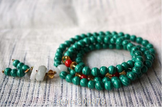 BRO552 Fashion 108 beads Fake Green Malachite Necklace 6mm Wholesale Summer Girls Beaded bracelets(China (Mainland))