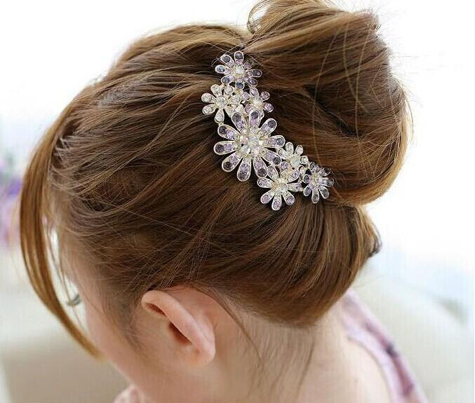 Hot Womens Hair Clip Flower Delicate Rhinestone Crystal Barrette Hair Comb Chic Accessorise Girl Jewelry(China (Mainland))